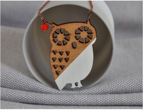 Owl Origami Woodcut Necklace Jam Art Factory Irish Art And