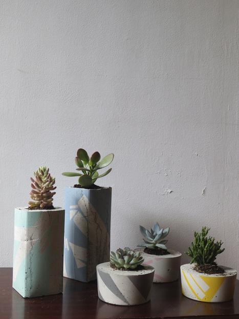 Large Concrete Succulent Planter Hand Painted Jam Art