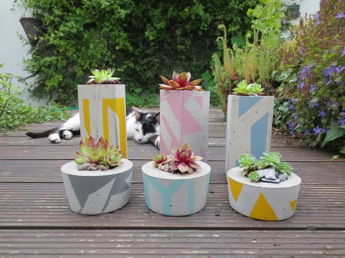 Small Concrete Succulent Planter Hand Painted Jam Art